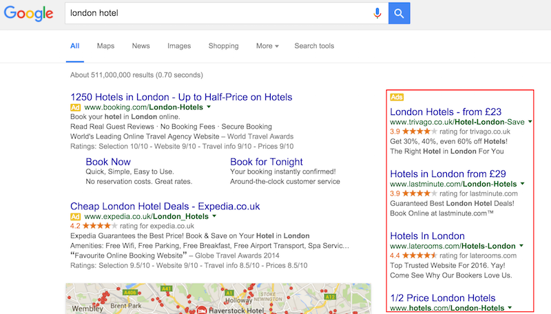 Google AdWords Right Hand Side Ads for Search of London Hotels
