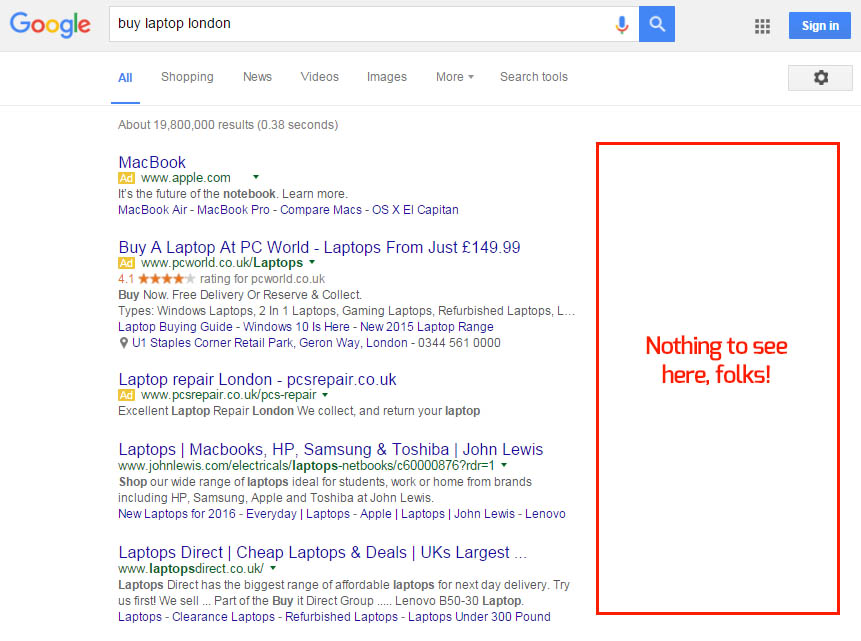 Google AdWords Right Hand Side with No Ads